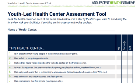 Youth-Led Health Center Assessment, 2017